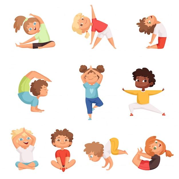 Yoga kinder charaktere. fitness sport kinder posieren und machen gymnastik yoga übungen vektor-illustrationen Premium Vektoren