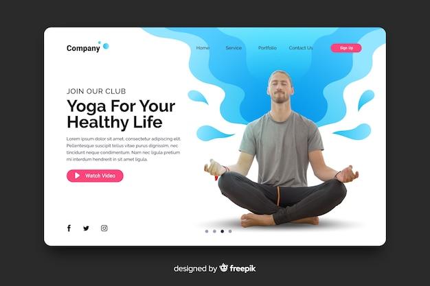 Yoga landing page mit foto und flüssigen formen Kostenlosen Vektoren