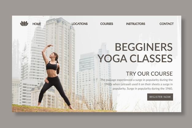 Yoga landing page vorlage mit foto Kostenlosen Vektoren