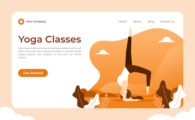 Yoga landing page Premium Vektoren