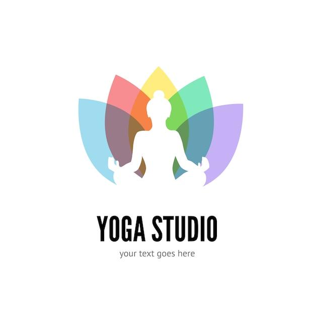 Yoga logo flache vorlage Premium Vektoren