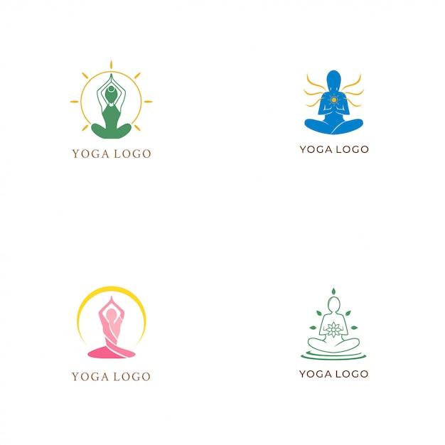 Yoga-logo-sammlung Premium Vektoren