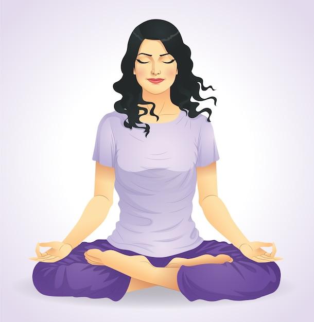 Yoga-mädchen Premium Vektoren