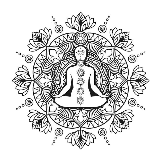 yoga mandala design malvorlagen für erwachsene oder t