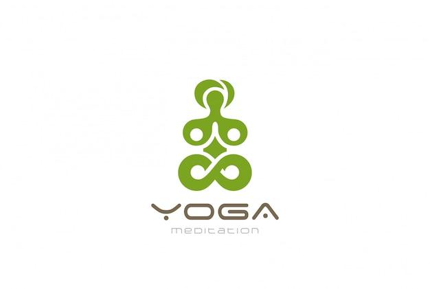 Yoga meditation logo vektor vintage-ikone. Kostenlosen Vektoren