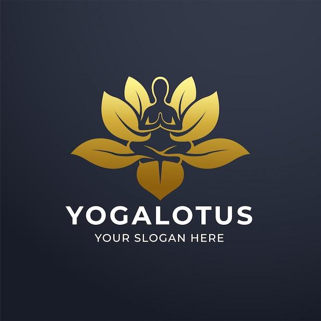 Yoga-meditation mit lotusblumen-logo-design Premium Vektoren