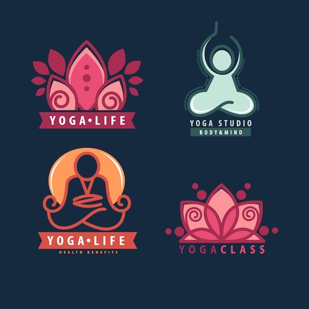 Yoga-monogramme und logos gesetzt. Premium Vektoren