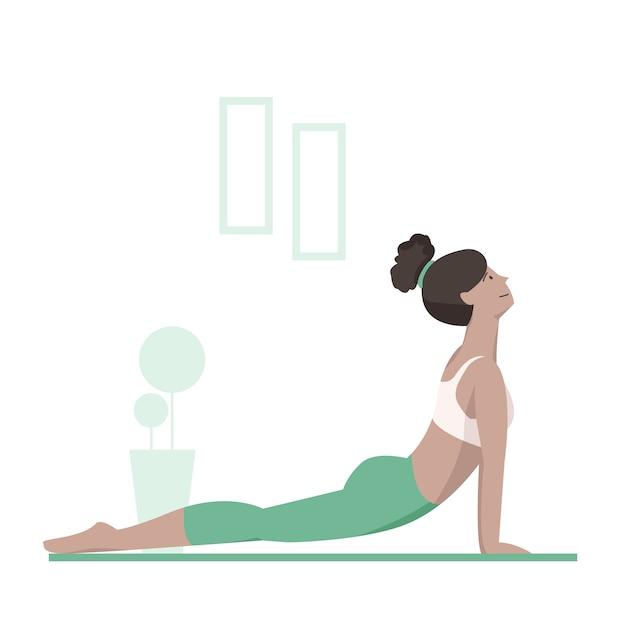 Yoga nach oben gerichteter hund Premium Vektoren