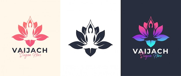 Yoga-pose mit lotusblumen-logo-design Premium Vektoren