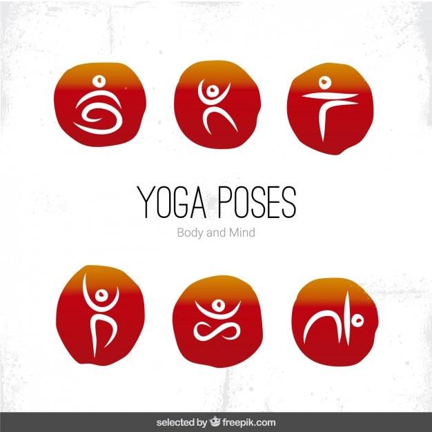 Yoga-posen symbole Kostenlosen Vektoren