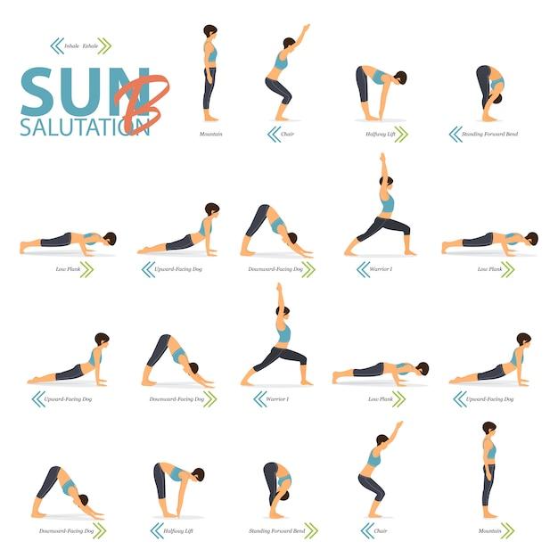 Yoga posiert im konzept des yoga sun salutation b im flachen design für den internationalen yogatag. Premium Vektoren