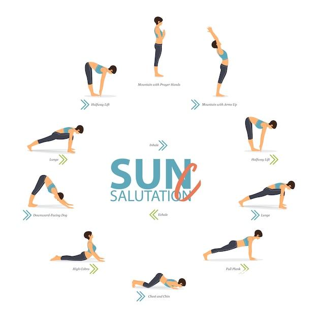 Yoga posiert im konzept von yoga sun salutation c im flachen design für den internationalen yogatag. Premium Vektoren