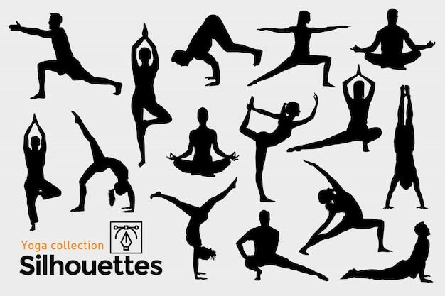 Yoga silhouetten sammlung. Premium Vektoren