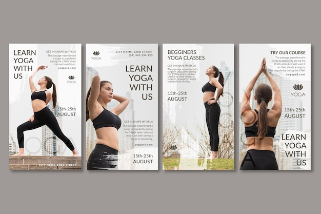 Yoga social media geschichten Kostenlosen Vektoren