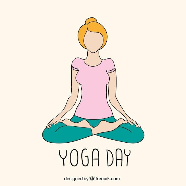 Yoga Tag Zeichnung | Download der Premium Vektor