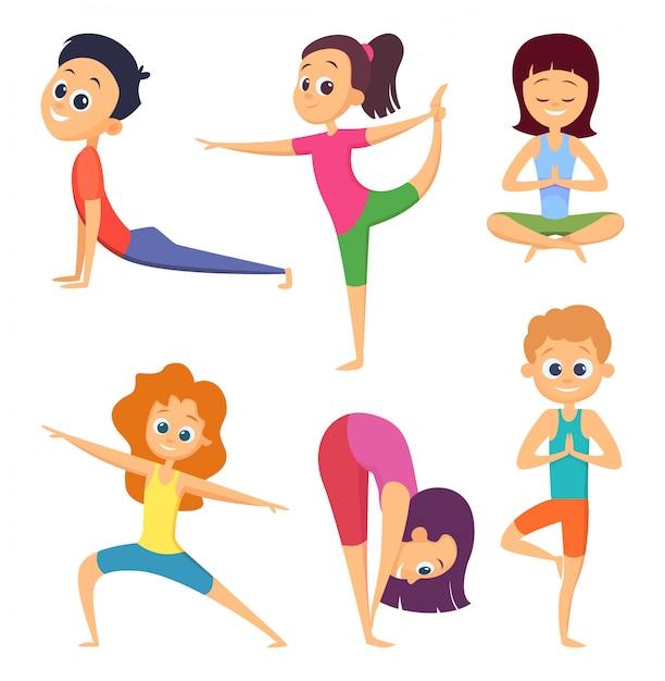 Yoga-übung für kinder, asana und meditation darstellen Premium Vektoren
