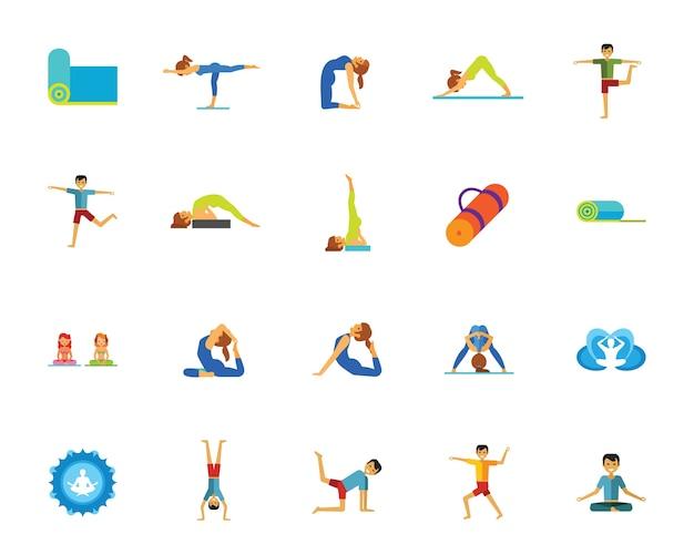 Yoga und fitness-icon-set Kostenlosen Vektoren