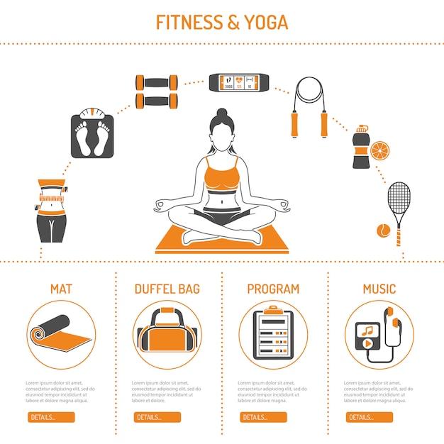 Yoga und fitness-konzept Premium Vektoren