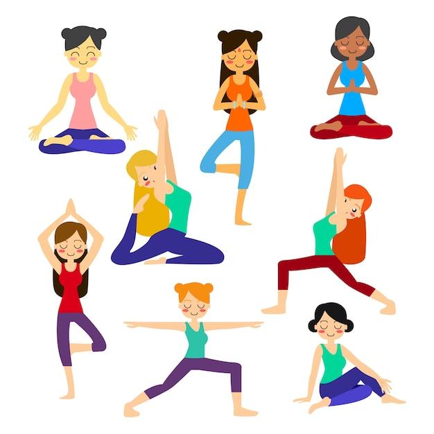 Yoga Zeichen Sammlung Download Der Premium Vektor