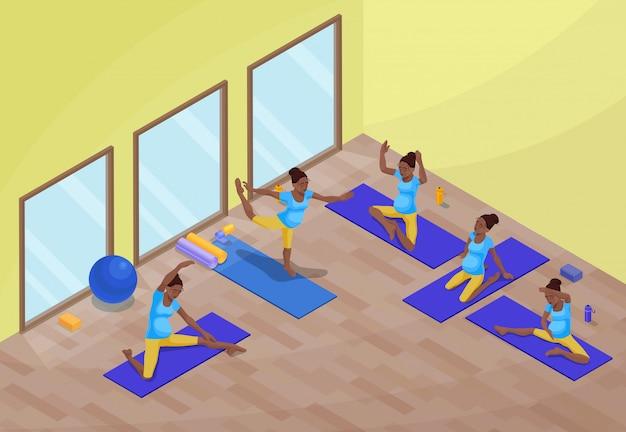 Yogaklasseninnenraum mit schwangerer afrikanischer frau Premium Vektoren