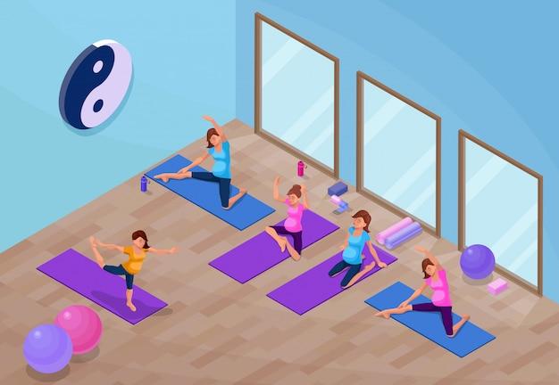 Yogastudioinnenraum mit schwangerer frau Premium Vektoren