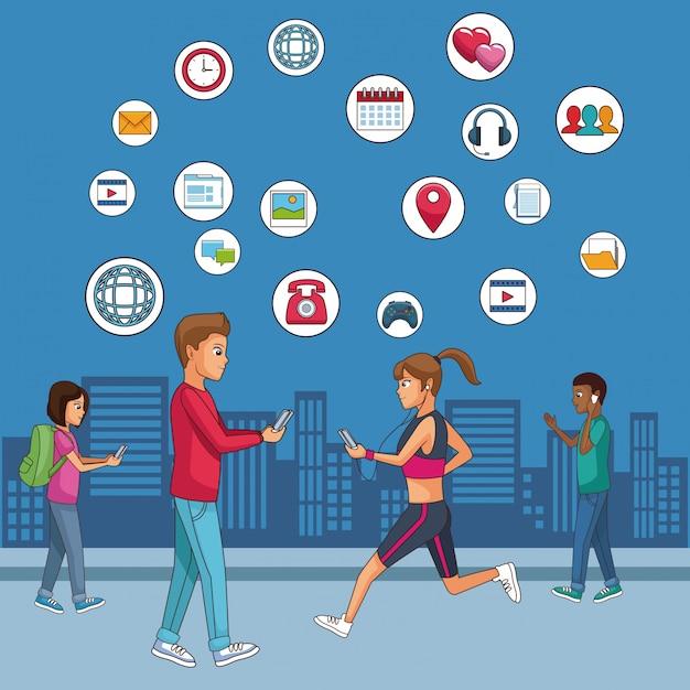 Youngs und soziale netzwerke Premium Vektoren
