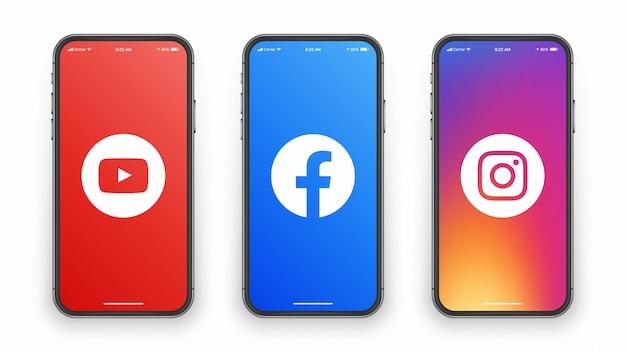 Youtube facebook instagram logo auf dem telefonbildschirm Premium Vektoren