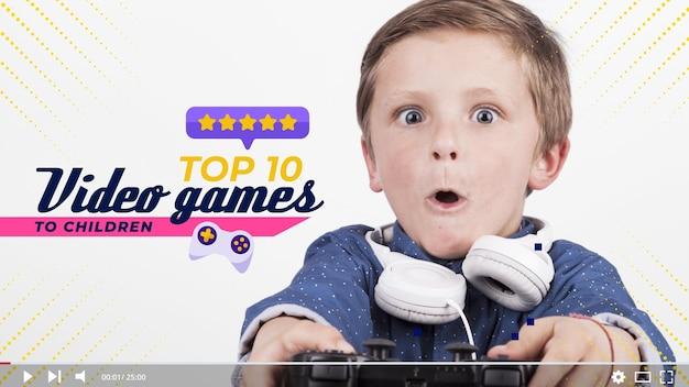 Youtube-miniaturansicht des videospielkonzepts Kostenlosen Vektoren