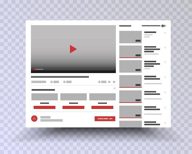 Youtube . vektorbrowserfenster mit video-player-website. benutzerkommentare. media player-vorlage. video-player-schnittstelle Premium Vektoren