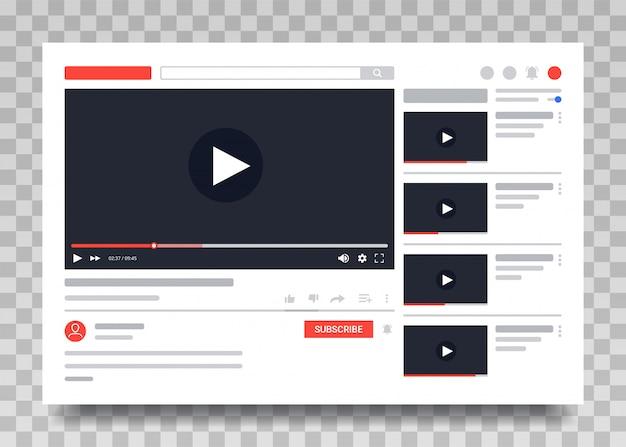 Youtube-videovorlage, pc-layout des video-players. video online-inhalte Premium Vektoren