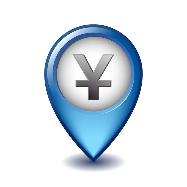 Yuan währungssymbol mapping marker symbol. illustration des yuan-kartenmarkierungssymbols auf einem weißen hintergrund. Premium Vektoren