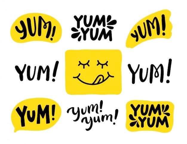 Yum yum wörter eingestellt. . beschriftung Premium Vektoren