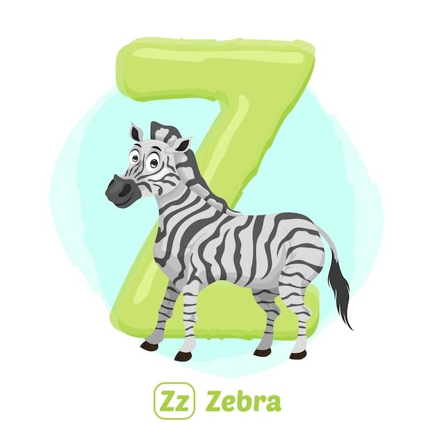 Z für zebra. illustrationszeichnungsstil des alphabet-tieres für bildung Premium Vektoren