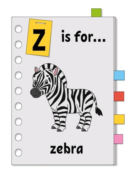 Z ist für zebra. abc-spiel für kinder. wort und brief. wörter lernen, um englisch zu lernen. Premium Vektoren