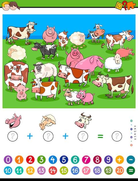 Zähle und füge ein spiel für kinder mit nutztieren hinzu Premium Vektoren