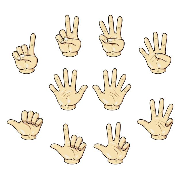 Zählen mit der fingerhand Premium Vektoren