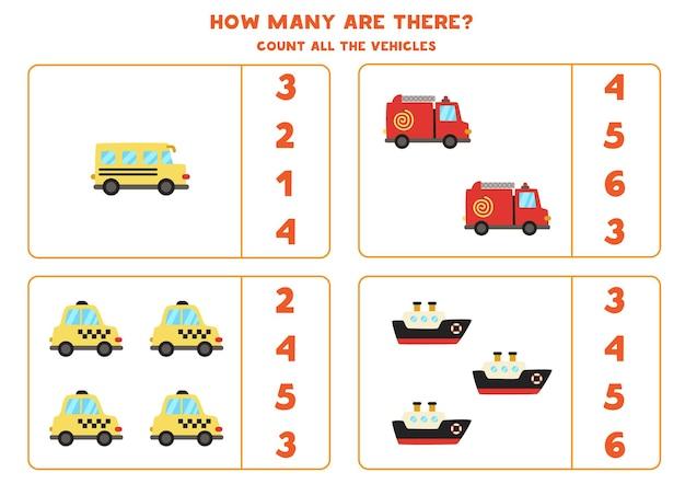 Zählen sie alle transportmittel und kreisen sie die richtige antwort ein. mathe-spiel. Premium Vektoren