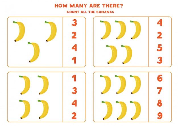 Zählen sie die anzahl der cartoon-bananen. bildungsarbeitsblatt. Premium Vektoren