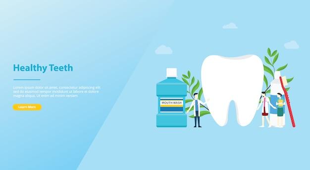 Zähne oder zahnpflege gesund mit mannschaftsarzt und großen zähnen und zahnbürste für websiteschablone Premium Vektoren