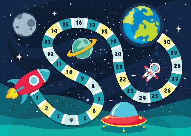 Zahl-brettspiel-illustration für kinderbildung Premium Vektoren