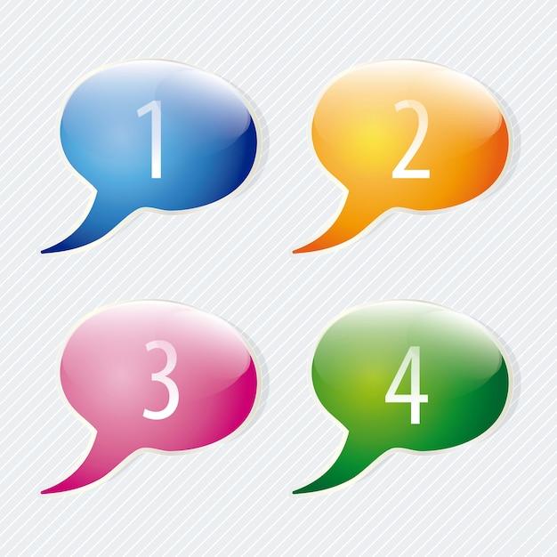 Zahl-ikonen auf buntem text steigt ballon vektorsatz auf Premium Vektoren