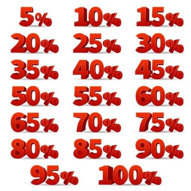 Zahlen der vektoren des rabattes 3d eingestellt Premium Vektoren