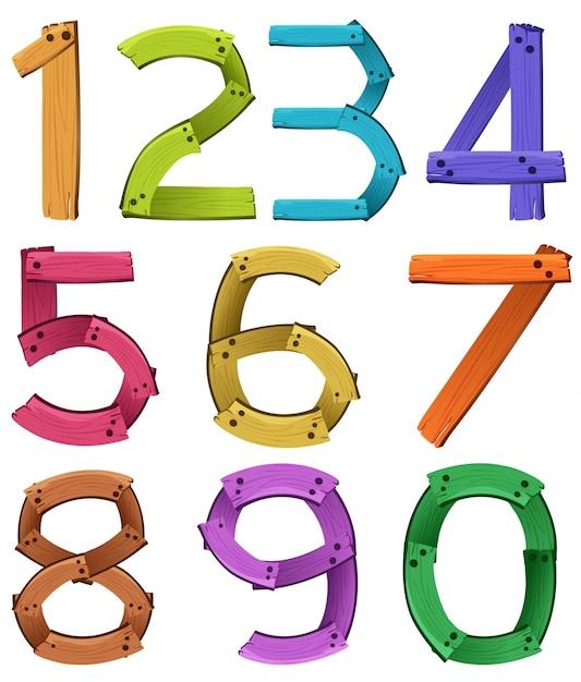 Zahlen null bis neun Kostenlosen Vektoren