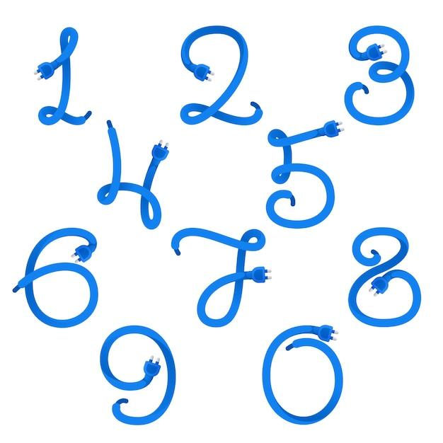 Zahlen setzen logos, die durch steckerkabel gebildet werden. Premium Vektoren