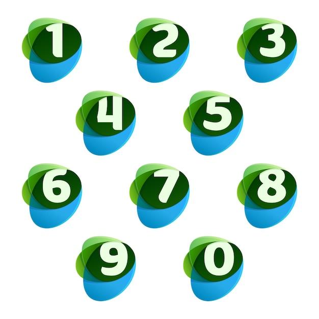 Zahlen setzen logos in grünen blättern und blauen tropfen. Premium Vektoren