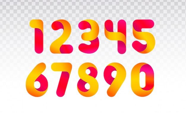 Zahlenreihe von 0 bis 9. Premium Vektoren
