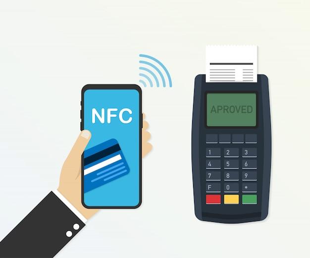 Zahlung mit kreditkarte über pos-terminal und smartphone, genehmigte zahlung. vektor-illustration Premium Vektoren