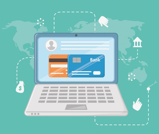 Zahlung online-icon-set-design Kostenlosen Vektoren