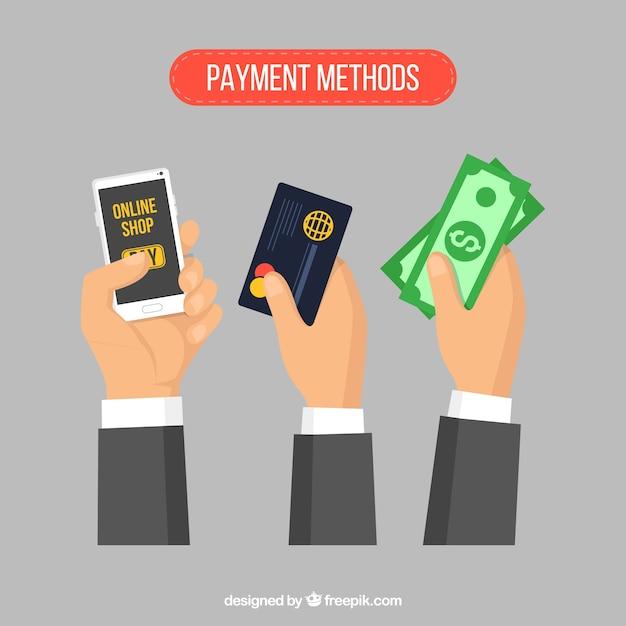 Zahlungsarten mit elegantem stil Kostenlosen Vektoren