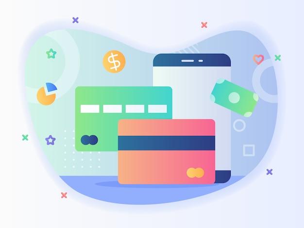 Zahlungsinstrument kredit debit bankkartenanwendung smartphone bargeldloses transaktionskonzept mit flachem stil vektordesign Premium Vektoren